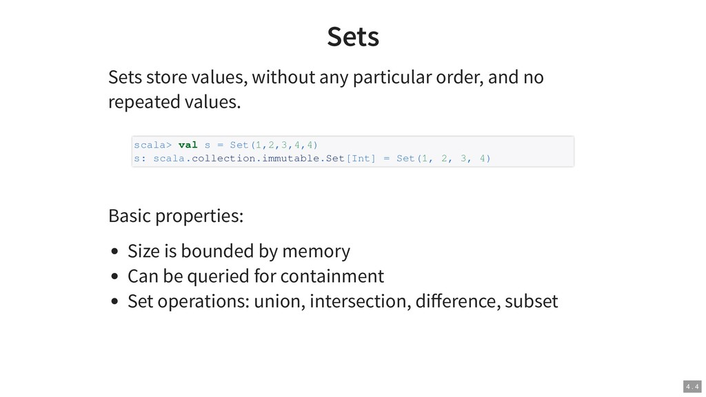 Sets Sets store values, without any particular ...