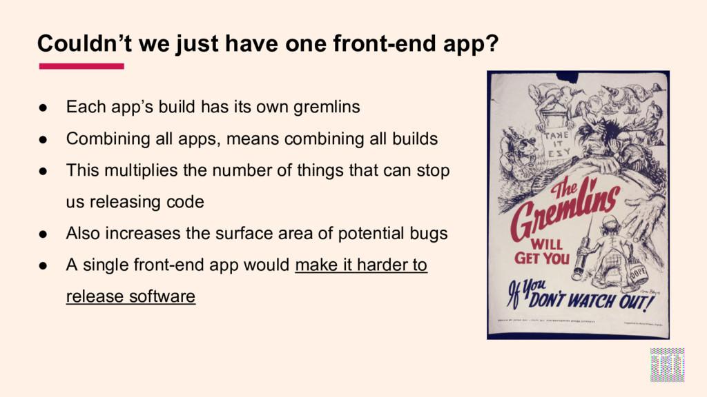 ● Each app's build has its own gremlins ● Combi...