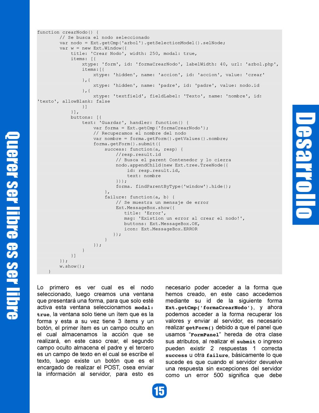 function crearNodo() { // Se busca el nodo sele...