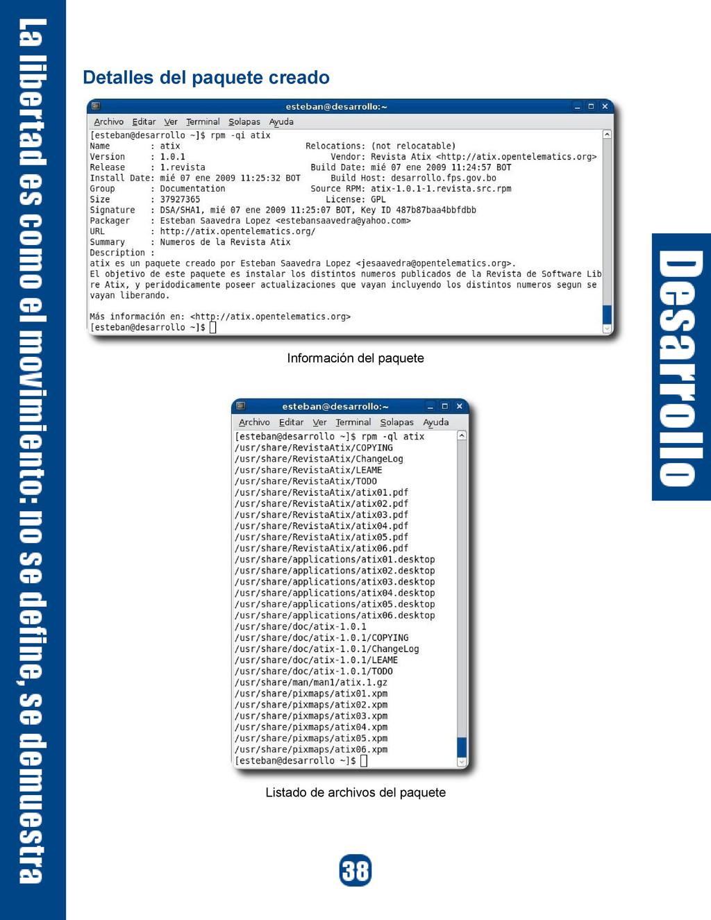 Detalles del paquete creado Información del paq...