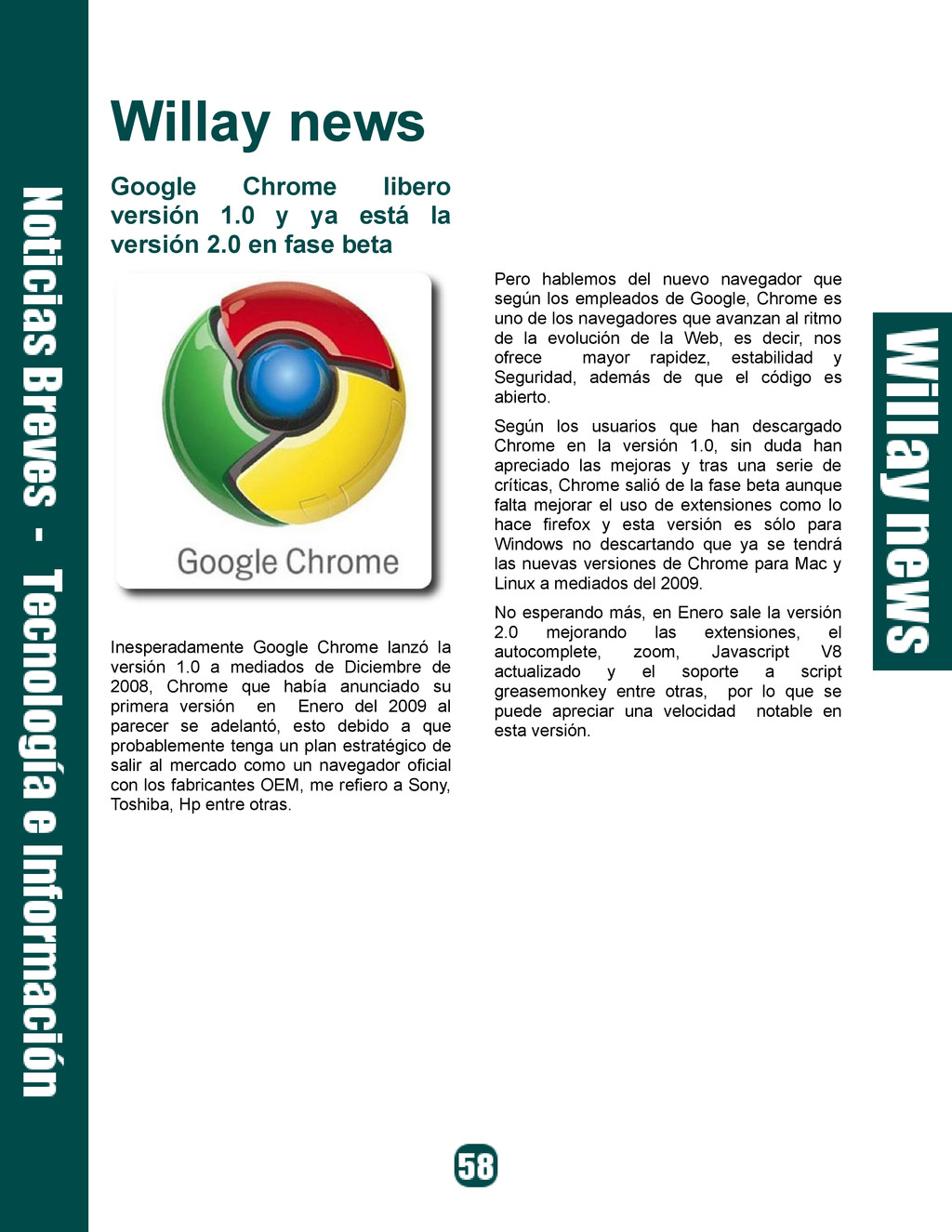 Willay news Google Chrome libero versión 1.0 y ...
