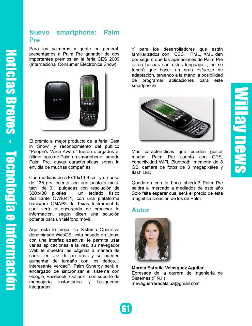 Nuevo smartphone: Palm Pre Para los palmeros y ...