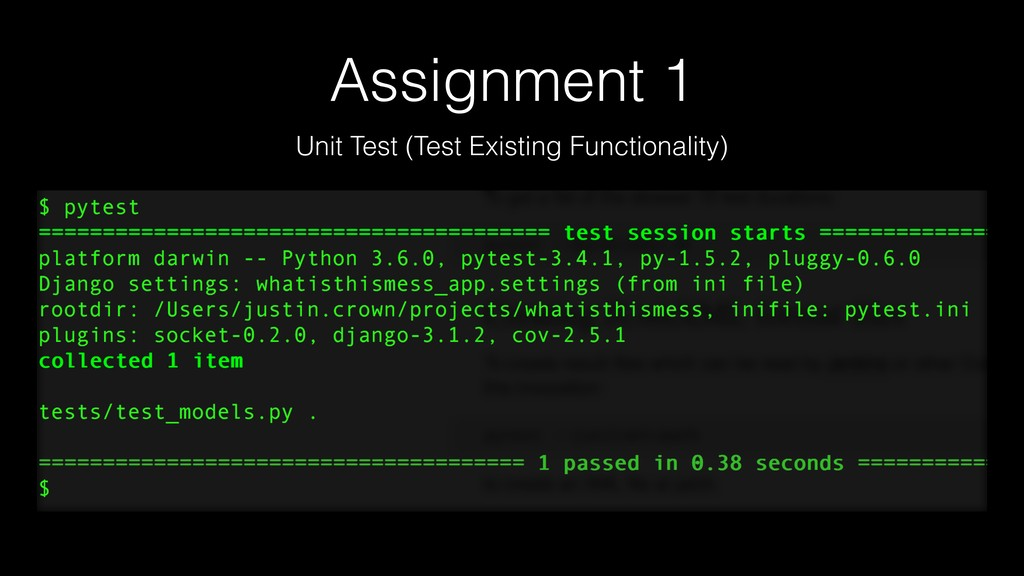 Assignment 1 Unit Test (Test Existing Functiona...