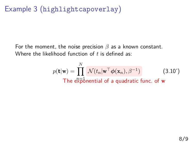 Example 3 (highlightcapoverlay) For the moment,...