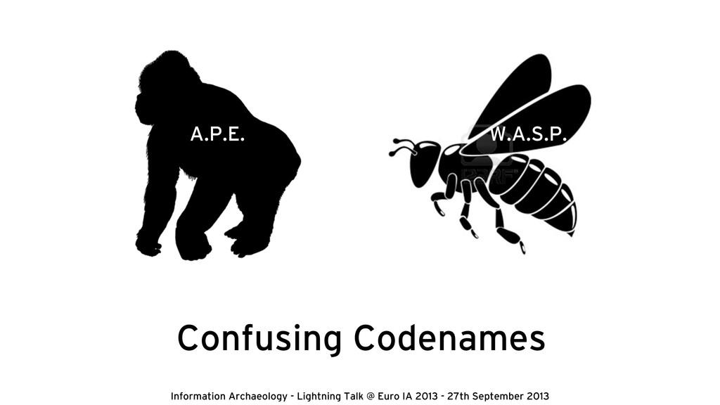 Confusing Codenames A.P.E. W.A.S.P. Information...