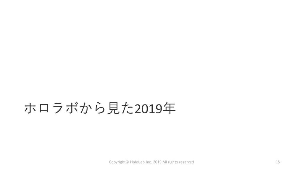 ホロラボから見た2019年 Copyright© HoloLab Inc. 2019 All ...