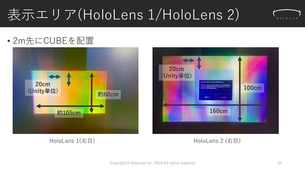 表示エリア(HoloLens 1/HoloLens 2) • 2m先にCUBEを配置 Copy...