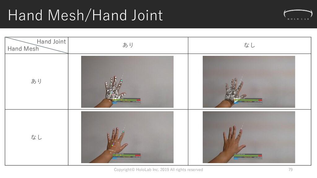 Hand Mesh/Hand Joint Hand Joint Hand Mesh あり なし...