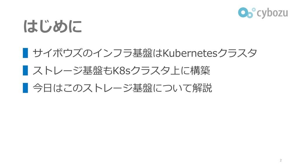 はじめに ▌サイボウズのインフラ基盤はKubernetesクラスタ ▌ストレージ基盤もK8sク...