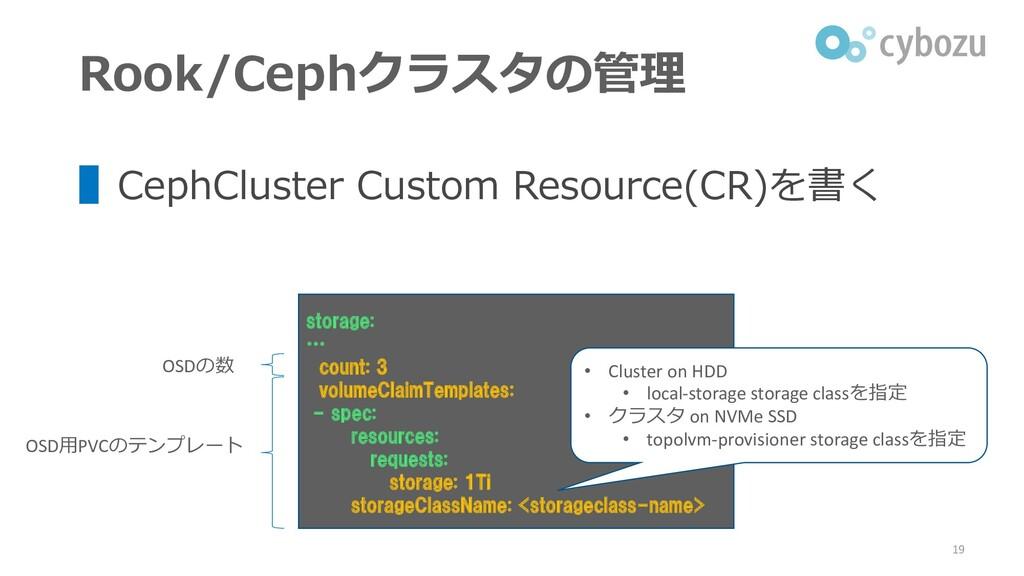 ▌CephCluster Custom Resource(CR)を書く 19 Rook/Cep...