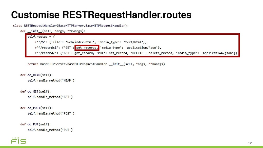 Customise RESTRequestHandler.routes 12
