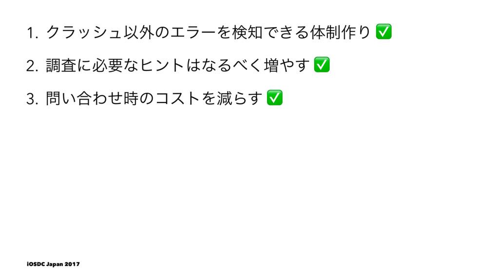 1. ΫϥογϡҎ֎ͷΤϥʔΛݕͰ͖Δମ੍࡞Γ 2. ௐࠪʹඞཁͳώϯτͳΔ͘૿͢ 3...