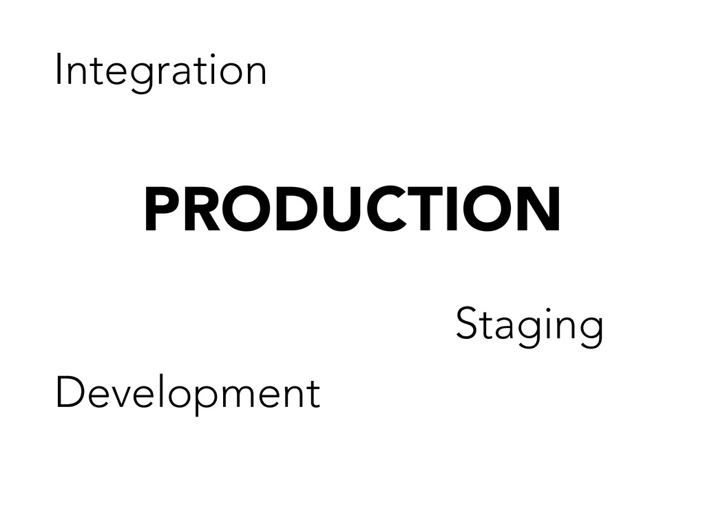 PRODUCTION Development Staging Integration