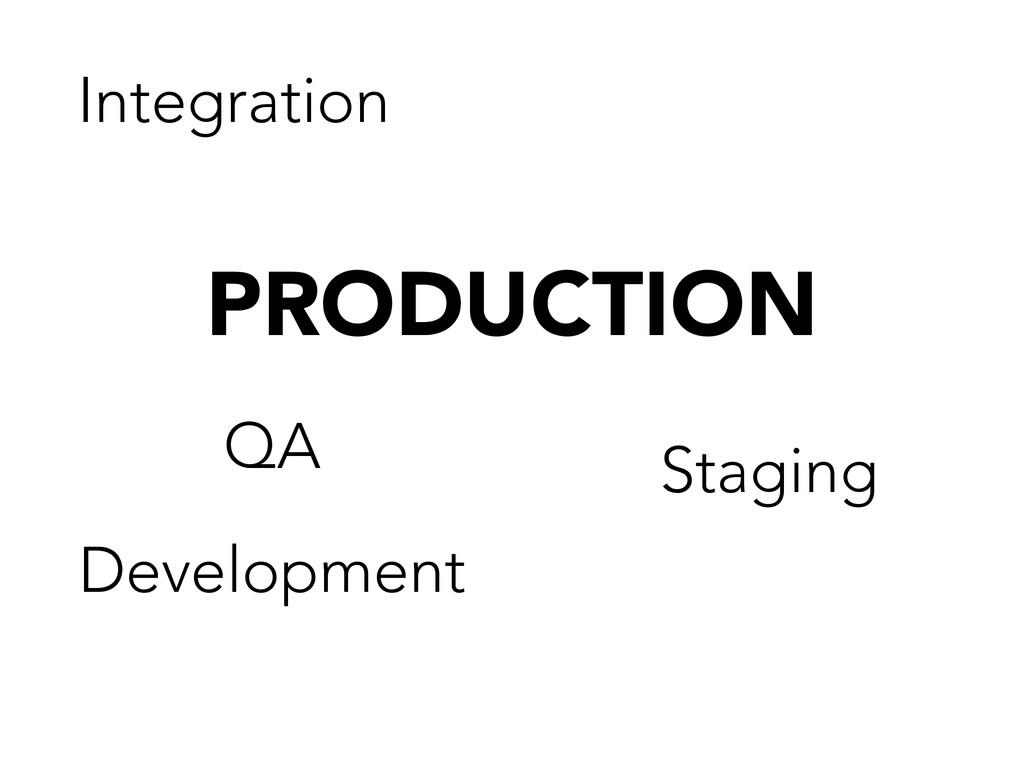 PRODUCTION Development Staging Integration QA