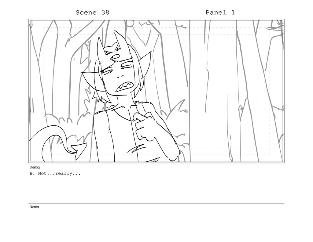 Scene 38 Panel 1 Dialog B: Not...really... Notes