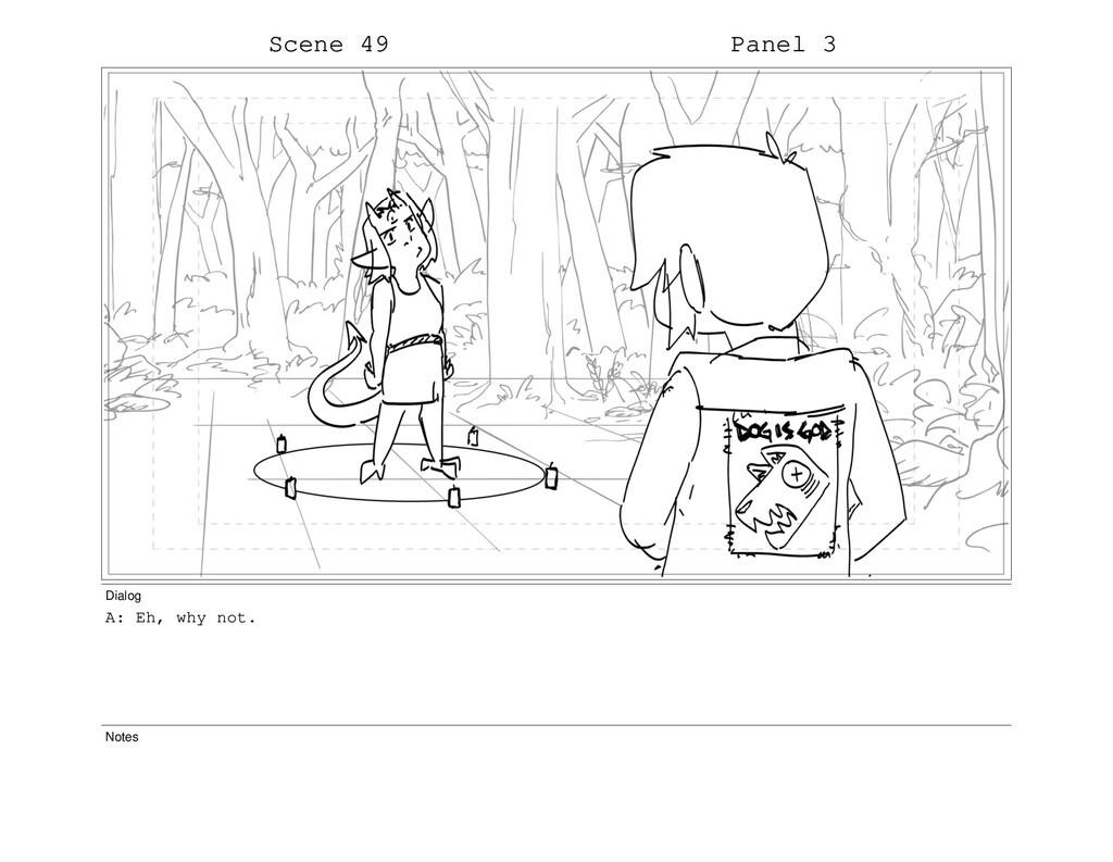 Scene 49 Panel 3 Dialog A: Eh, why not. Notes