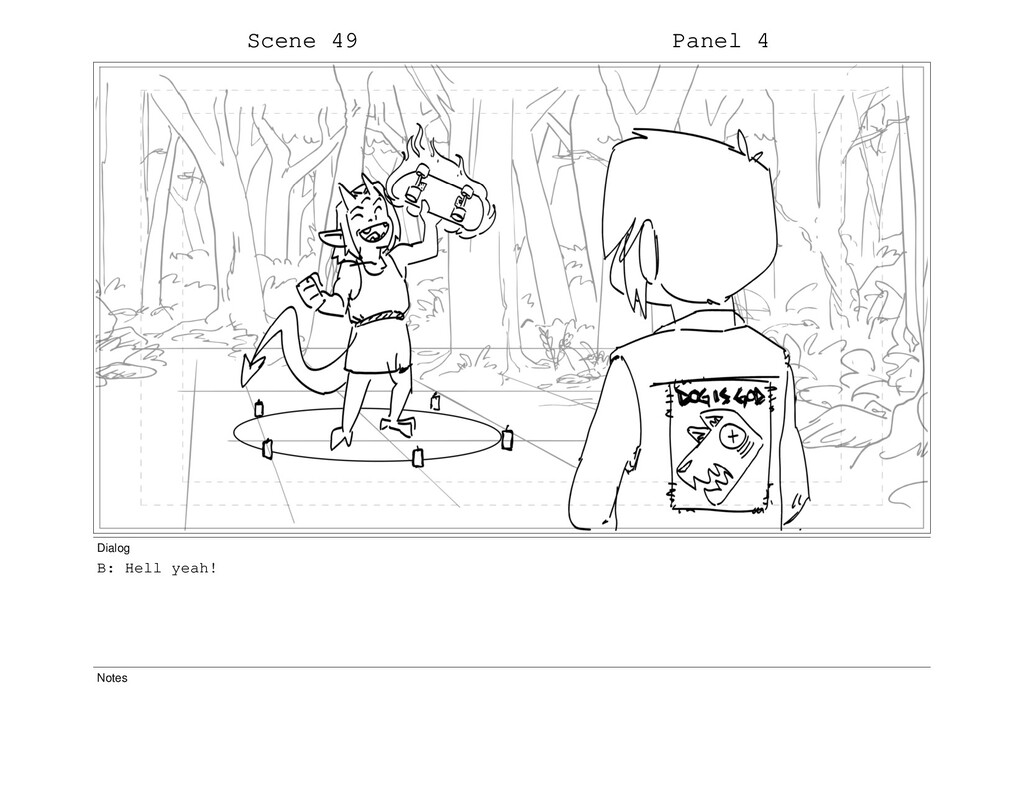 Scene 49 Panel 4 Dialog B: Hell yeah! Notes