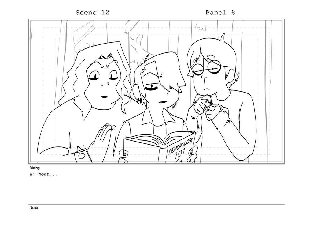 Scene 12 Panel 8 Dialog A: Woah... Notes