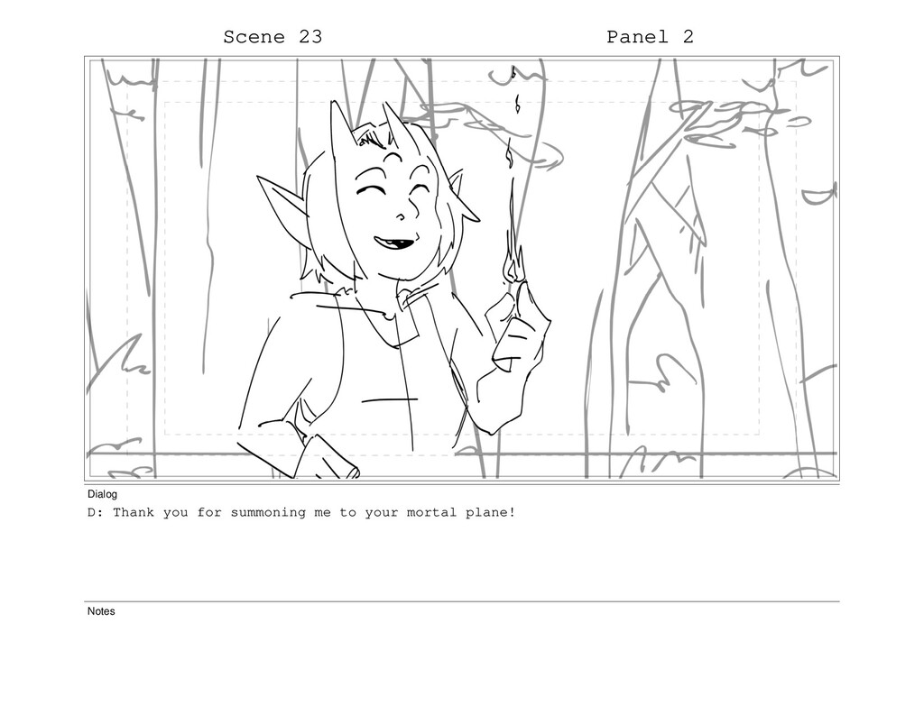 Scene 23 Panel 2 Dialog D: Thank you for summon...
