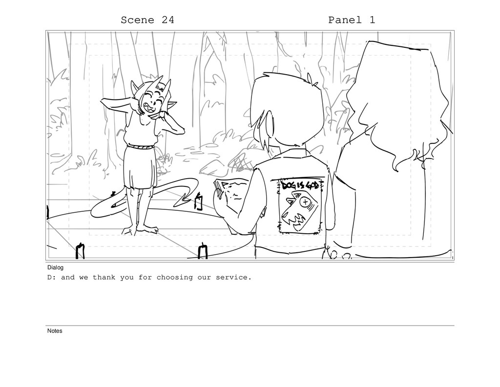 Scene 24 Panel 1 Dialog D: and we thank you for...