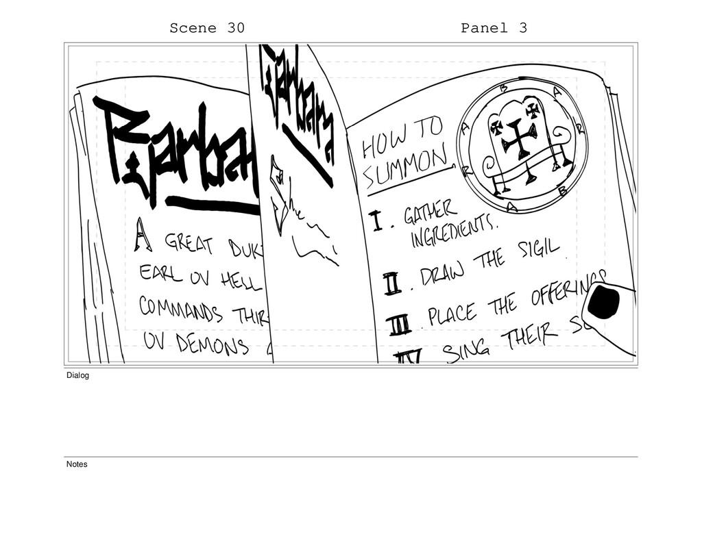 Scene 30 Panel 3 Dialog Notes
