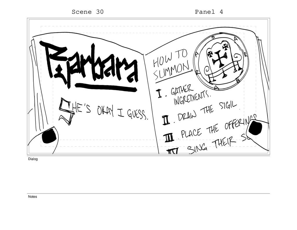 Scene 30 Panel 4 Dialog Notes
