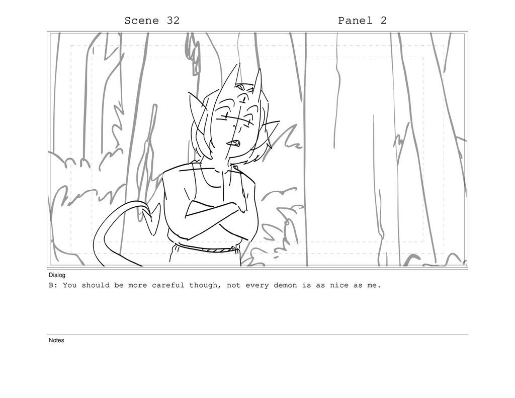 Scene 32 Panel 2 Dialog B: You should be more c...