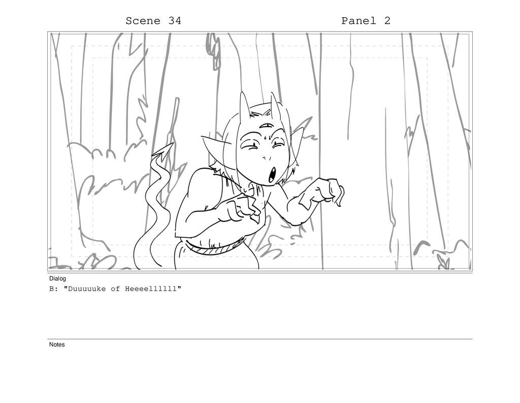 "Scene 34 Panel 2 Dialog B: ""Duuuuuke of Heeeell..."