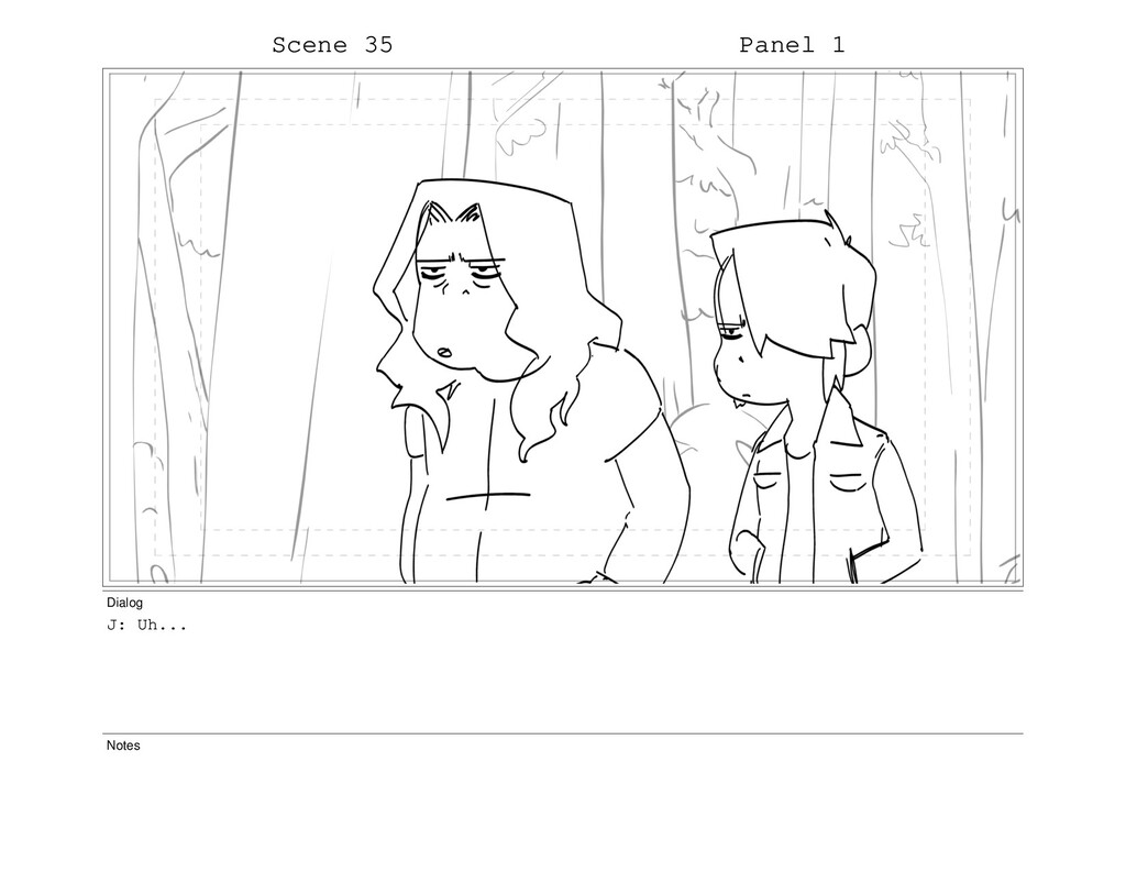 Scene 35 Panel 1 Dialog J: Uh... Notes