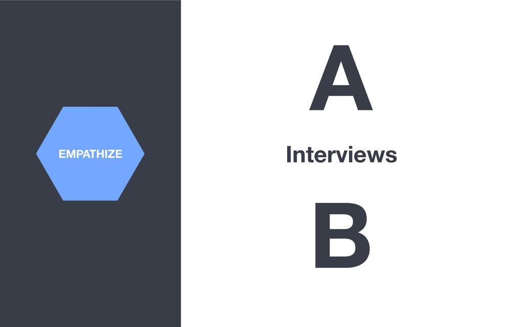 EMPATHIZE A Interviews B
