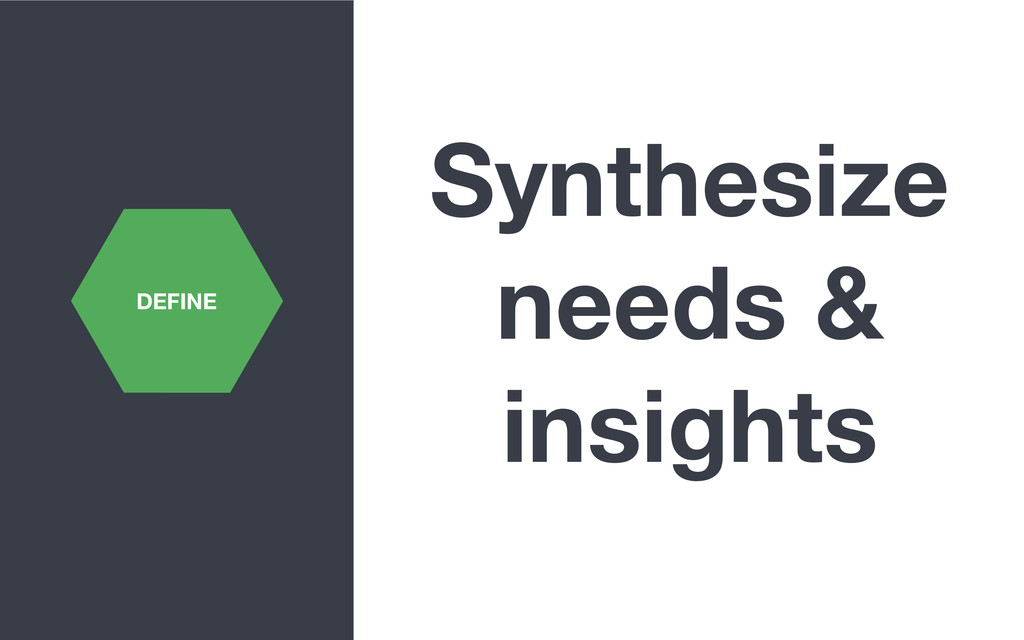 Synthesize needs & insights DEFINE
