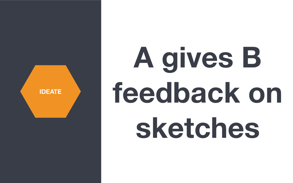 A gives B feedback on sketches IDEATE