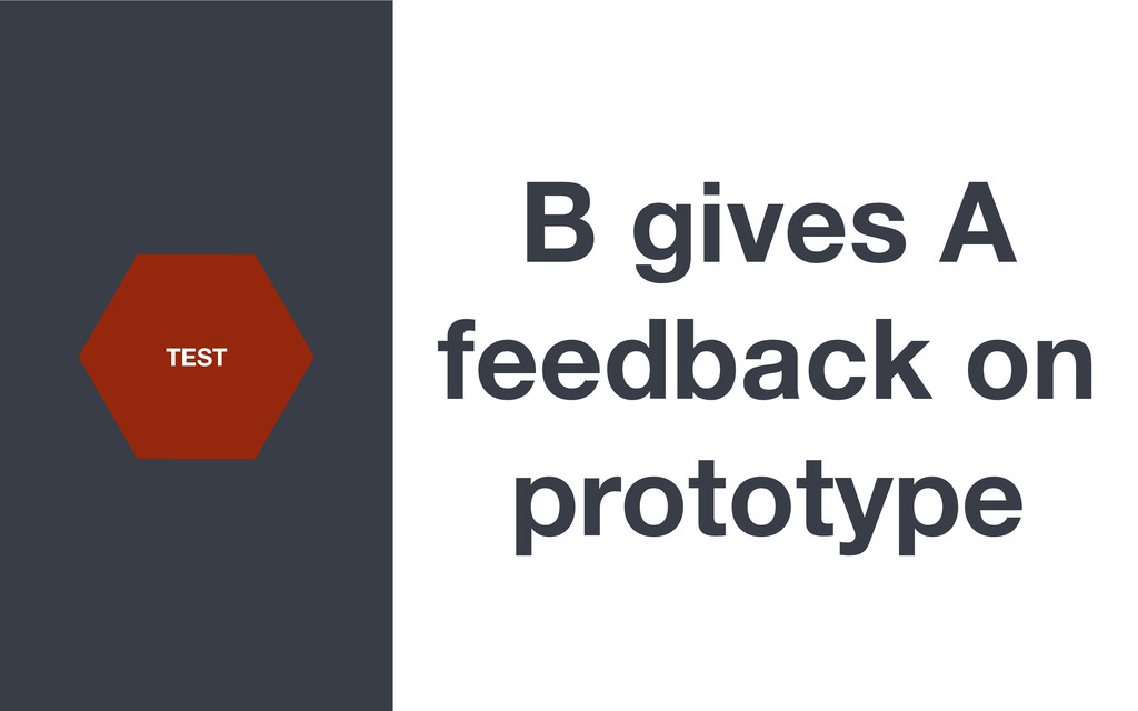 B gives A feedback on prototype TEST