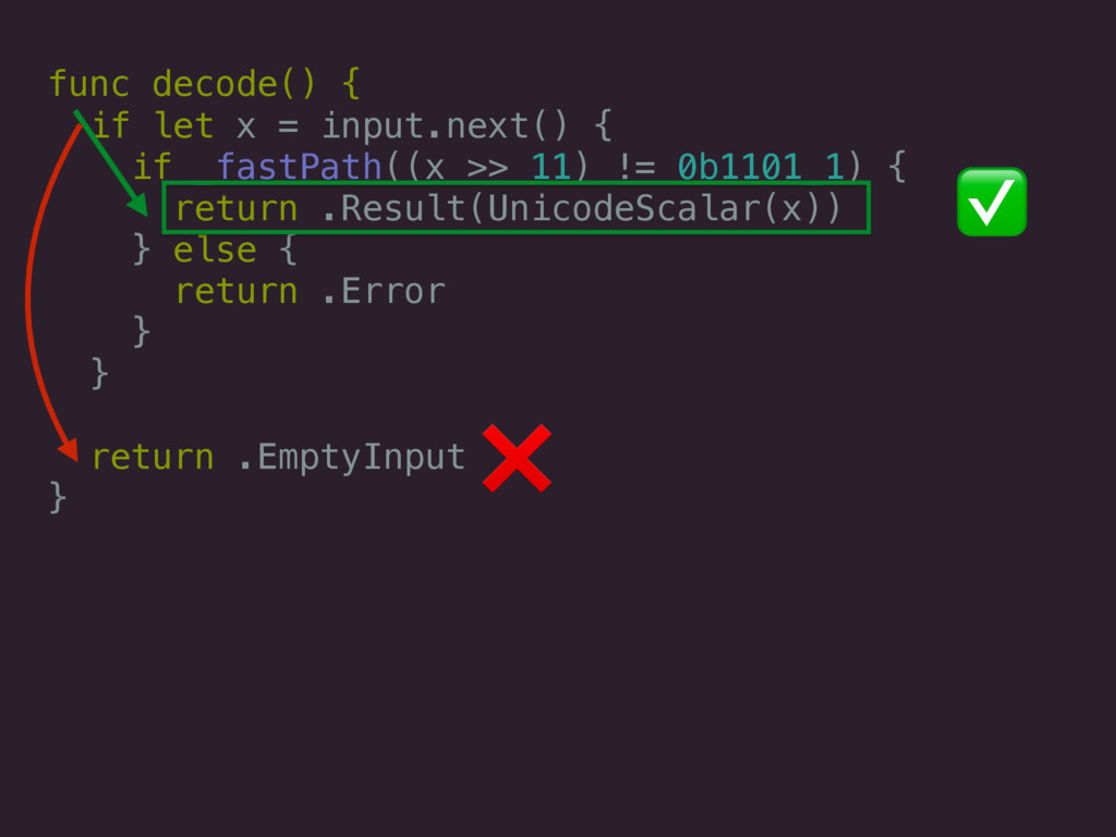func decode() { if let x = input.next() { if _f...