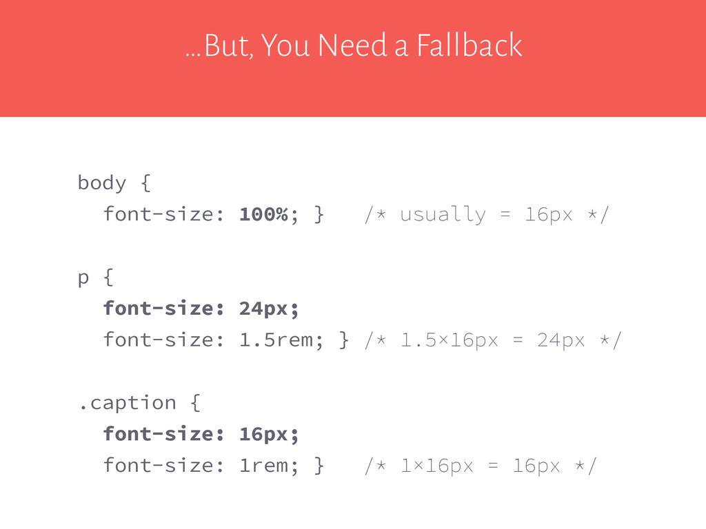 …But, You Need a Fallback body { font-size: 100...