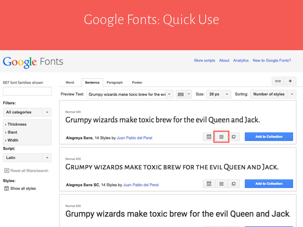 Google Fonts: Quick Use