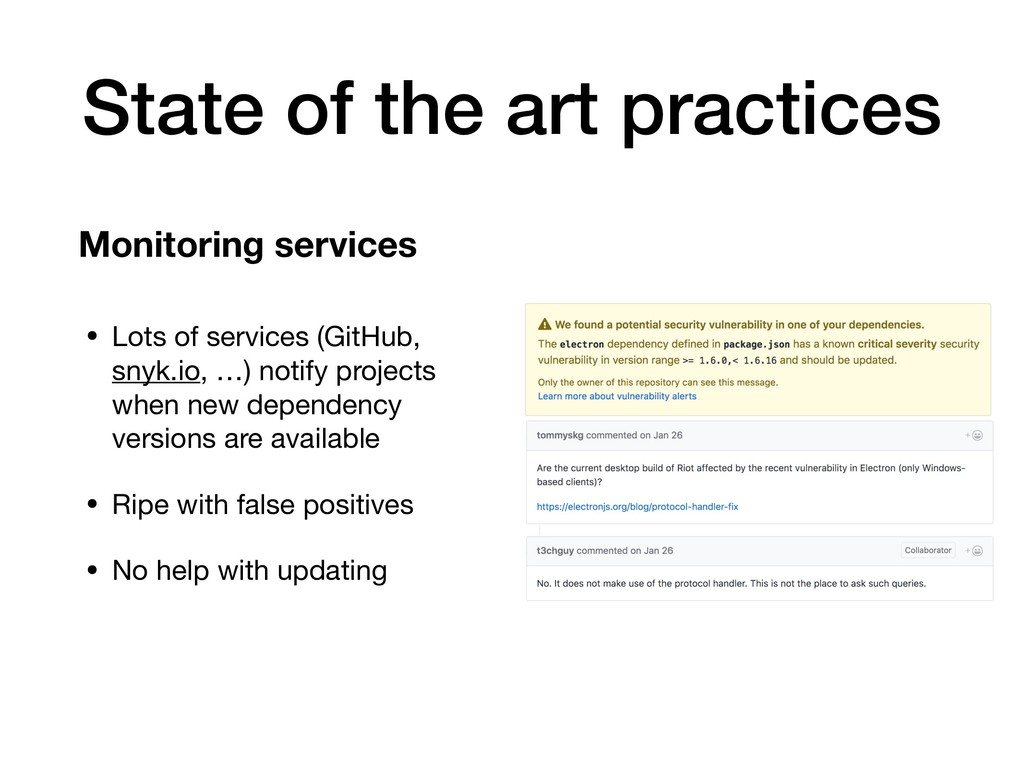 State of the art practices • Lots of services (...