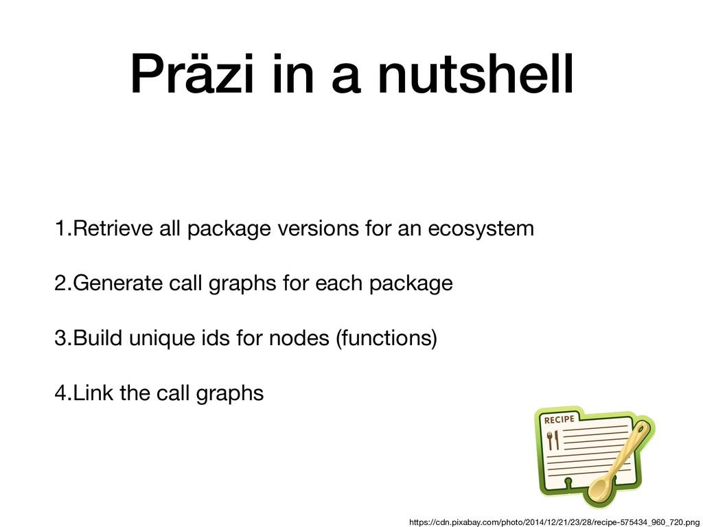 Präzi in a nutshell 1.Retrieve all package vers...