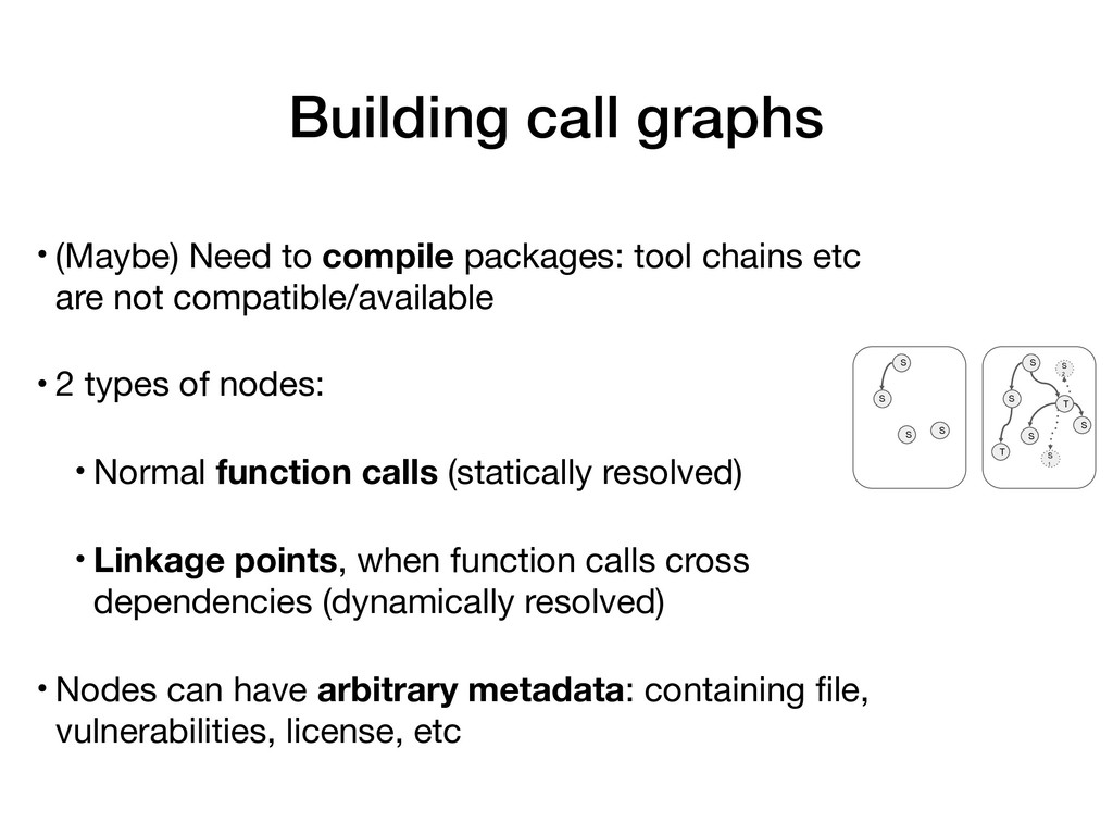 Building call graphs • (Maybe) Need to compile ...