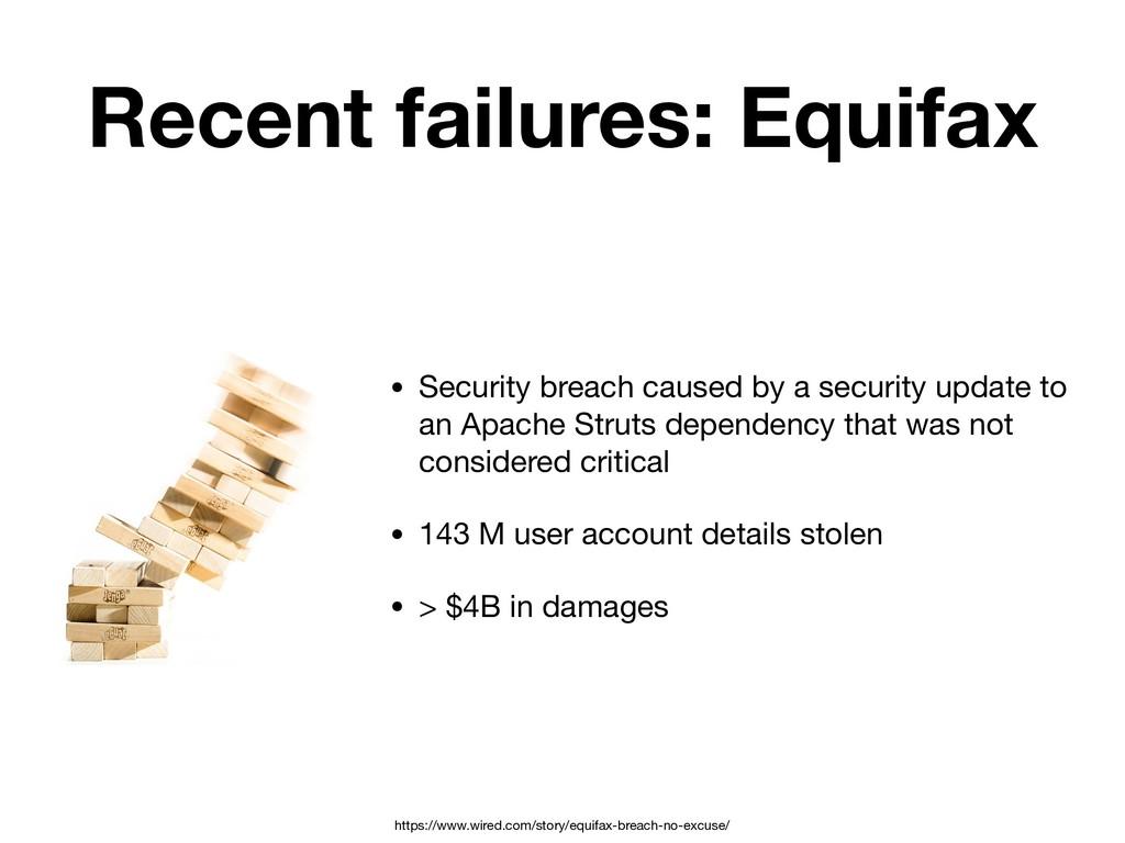 Recent failures: Equifax • Security breach caus...