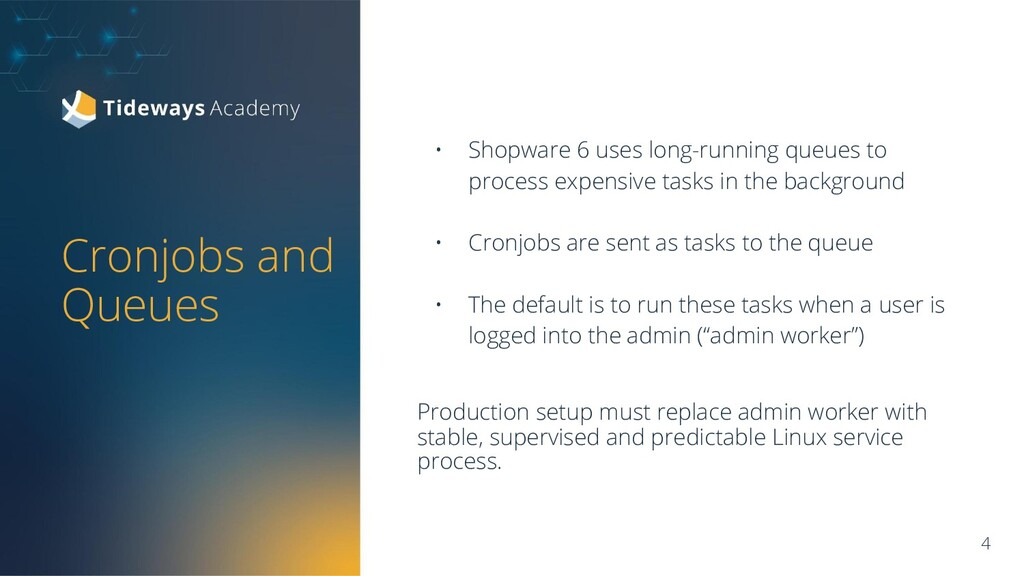 • Shopware 6 uses long-running queues to proces...
