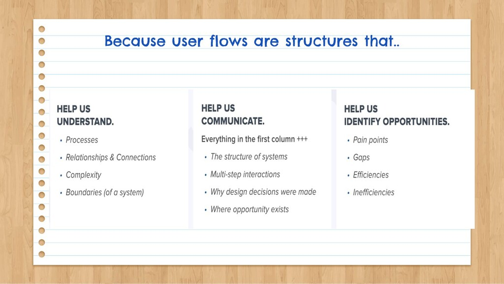Because user flows are structures that..