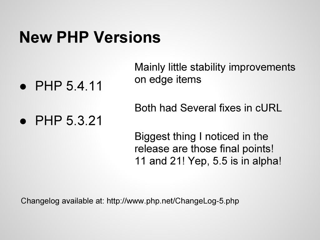 New PHP Versions ● PHP 5.4.11 ● PHP 5.3.21 Main...