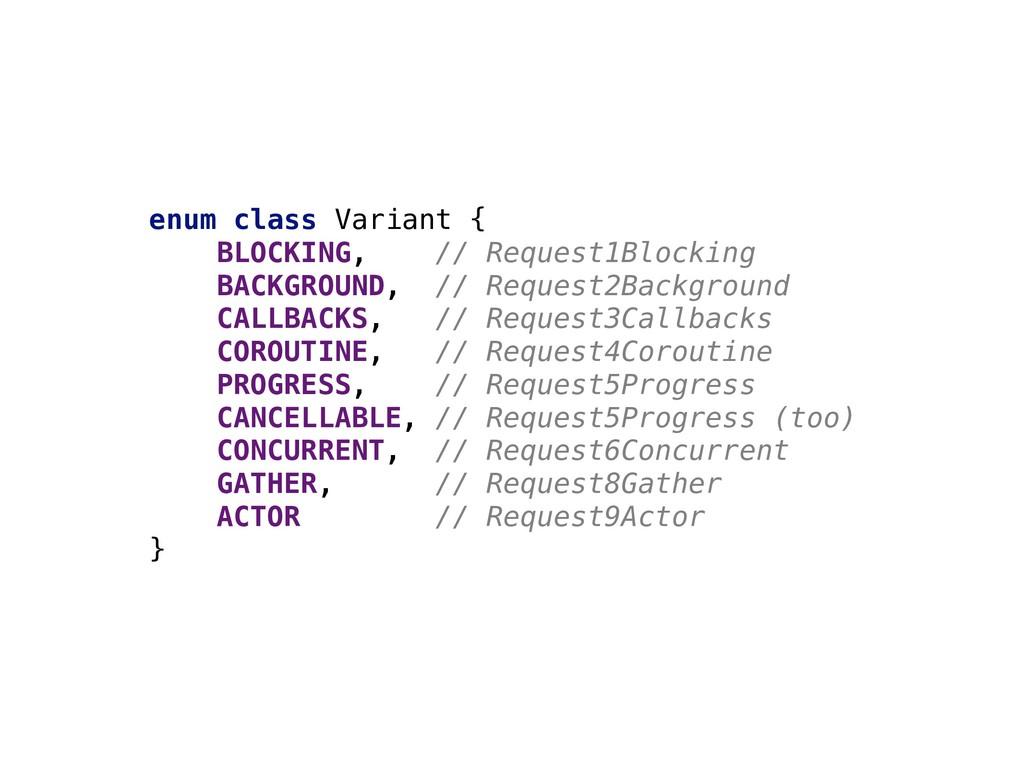 enum class Variant { BLOCKING, // Request1Block...