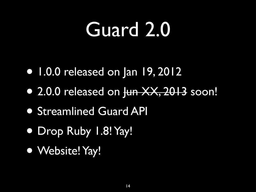Guard 2.0 • 1.0.0 released on Jan 19, 2012 • 2....