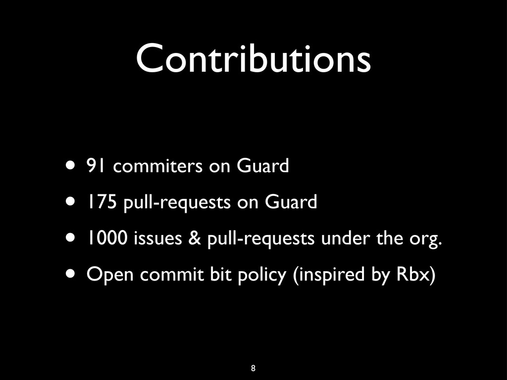 Contributions • 91 commiters on Guard • 175 pul...