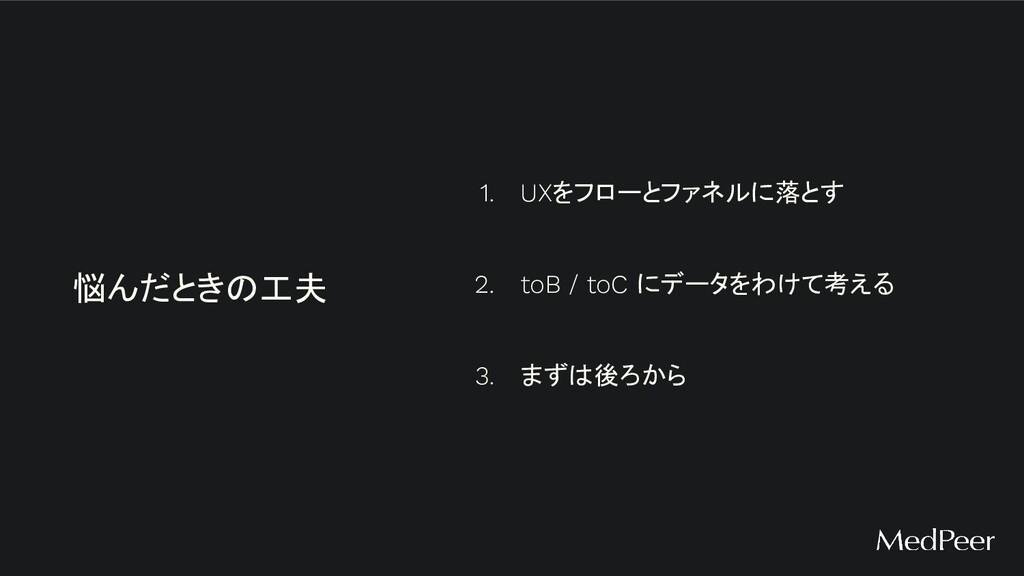 1. UXをフローとファネルに落とす 2. toB / toC にデータをわけて考える 3. ...