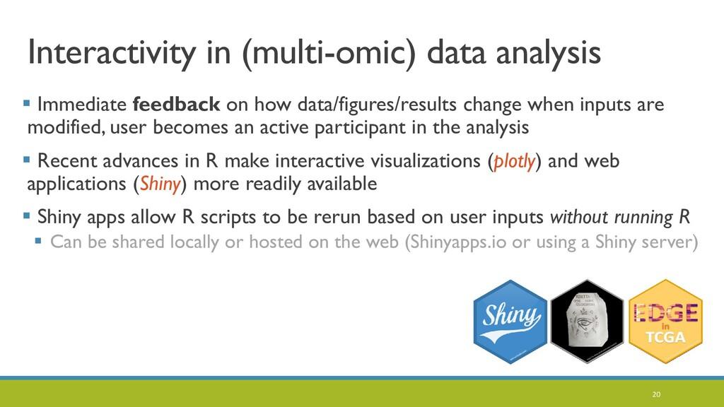Interactivity in (multi-omic) data analysis  I...