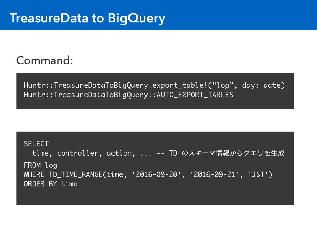 TreasureData to BigQuery Huntr::TreasureDataToB...