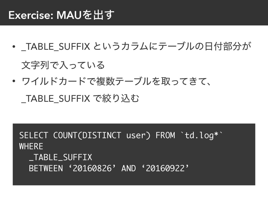 Exercise: MAUΛग़͢ • _TABLE_SUFFIX ͱ͍͏ΧϥϜʹςʔϒϧͷ...